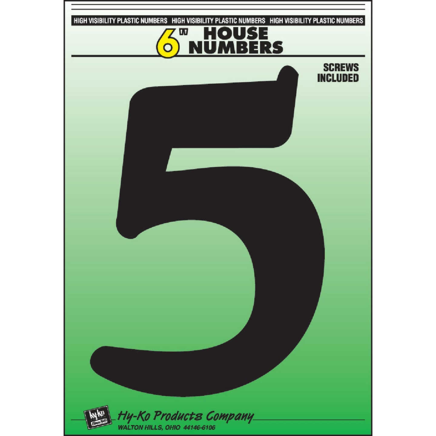 Hy-Ko 6 In. Black Gloss House Number Five Image 1