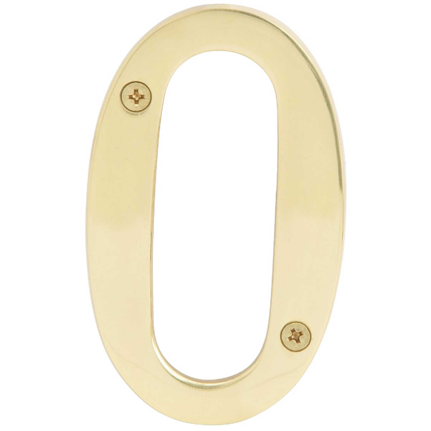 Hy-Ko 4 In. Polished Brass House Number Zero Image 1