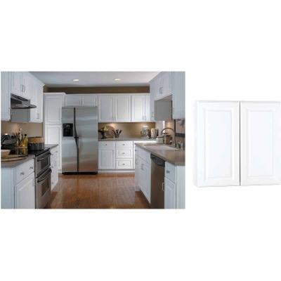 Continental Cabinets Hamilton 30 In. W x 30 In. H x 12 In. D Satin White Maple Wall Kitchen Cabinet