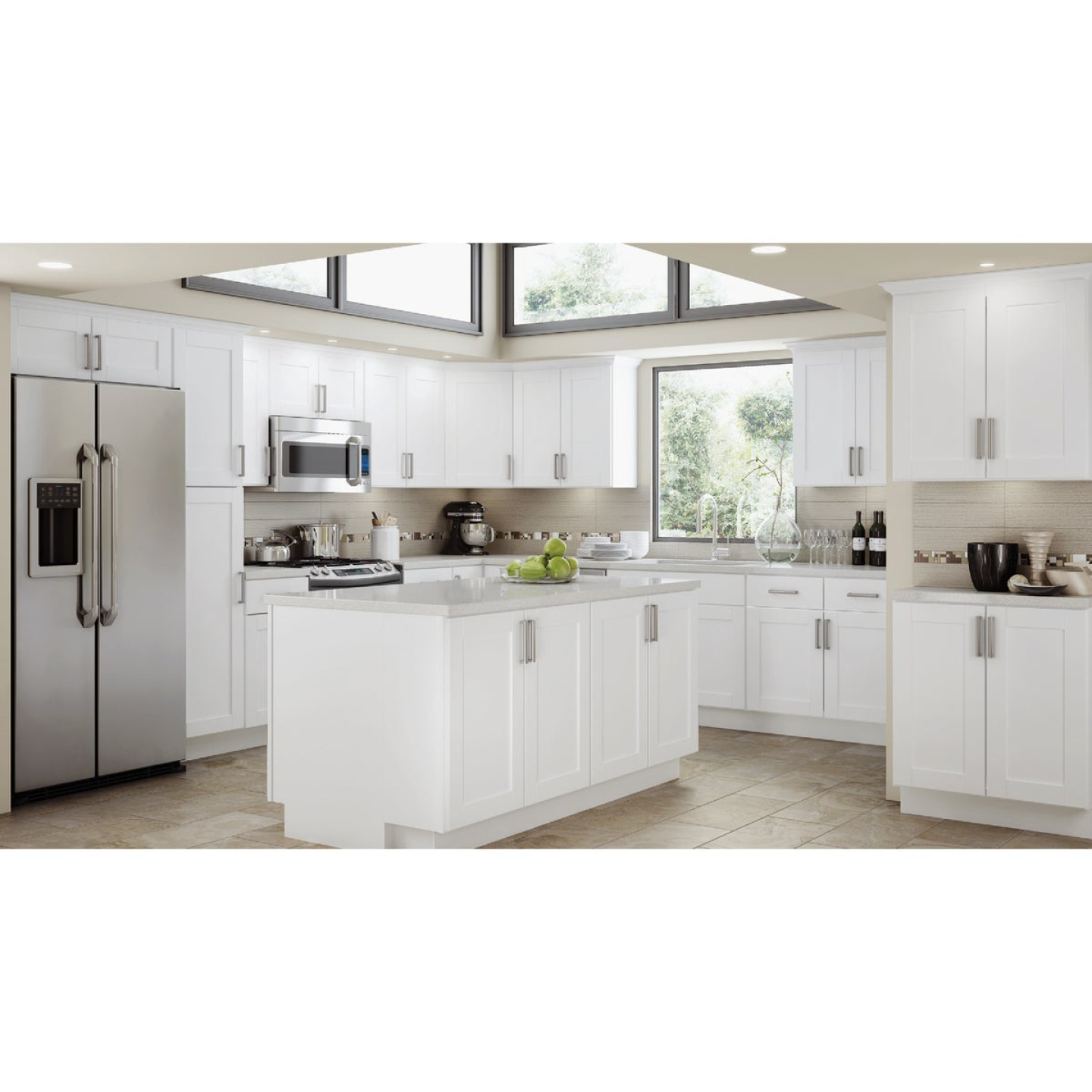 Continental Cabinets Andover Shaker 24 In. W x 30 In. H x 12 In. D White Thermofoil Wall Kitchen Cabinet Image 2