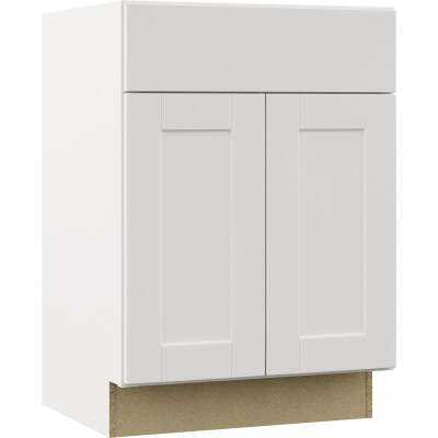 Continental Cabinets Andover Shaker 24 In. W x 34-1/2 In. H x 21 In. D White Vanity Sink Base