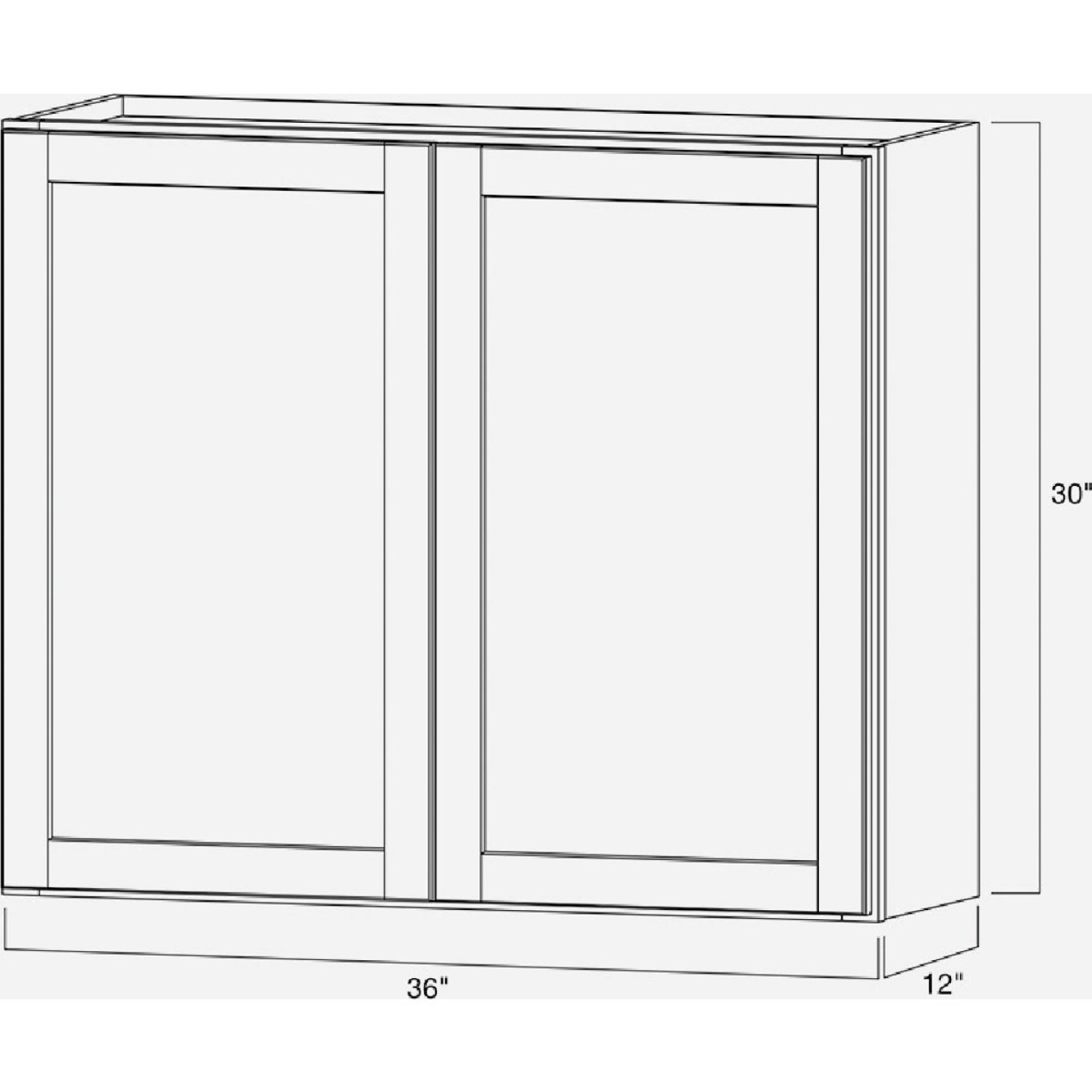 Continental Cabinets Andover Shaker 36 In. W x 30 In. H x 12 In. D White Thermofoil Wall Kitchen Cabinet Image 6