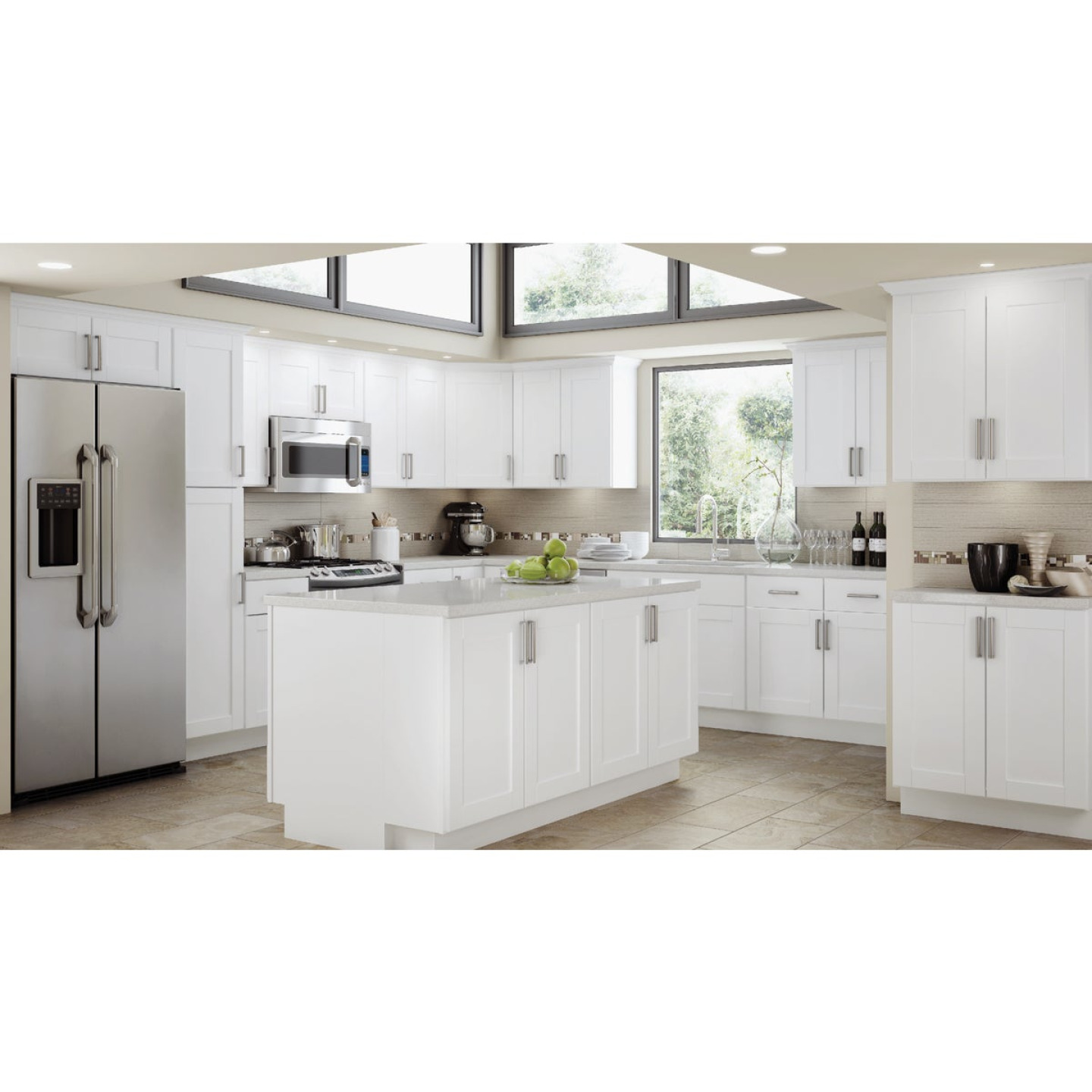 Continental Cabinets Andover Shaker 30 In. W x 34 In. H x 24 In. D White Thermofoil Base Kitchen Cabinet Image 2