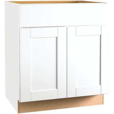 Continental Cabinets Andover Shaker 30 In. W x 34 In. H x 24 In. D White Thermofoil Base Kitchen Cabinet