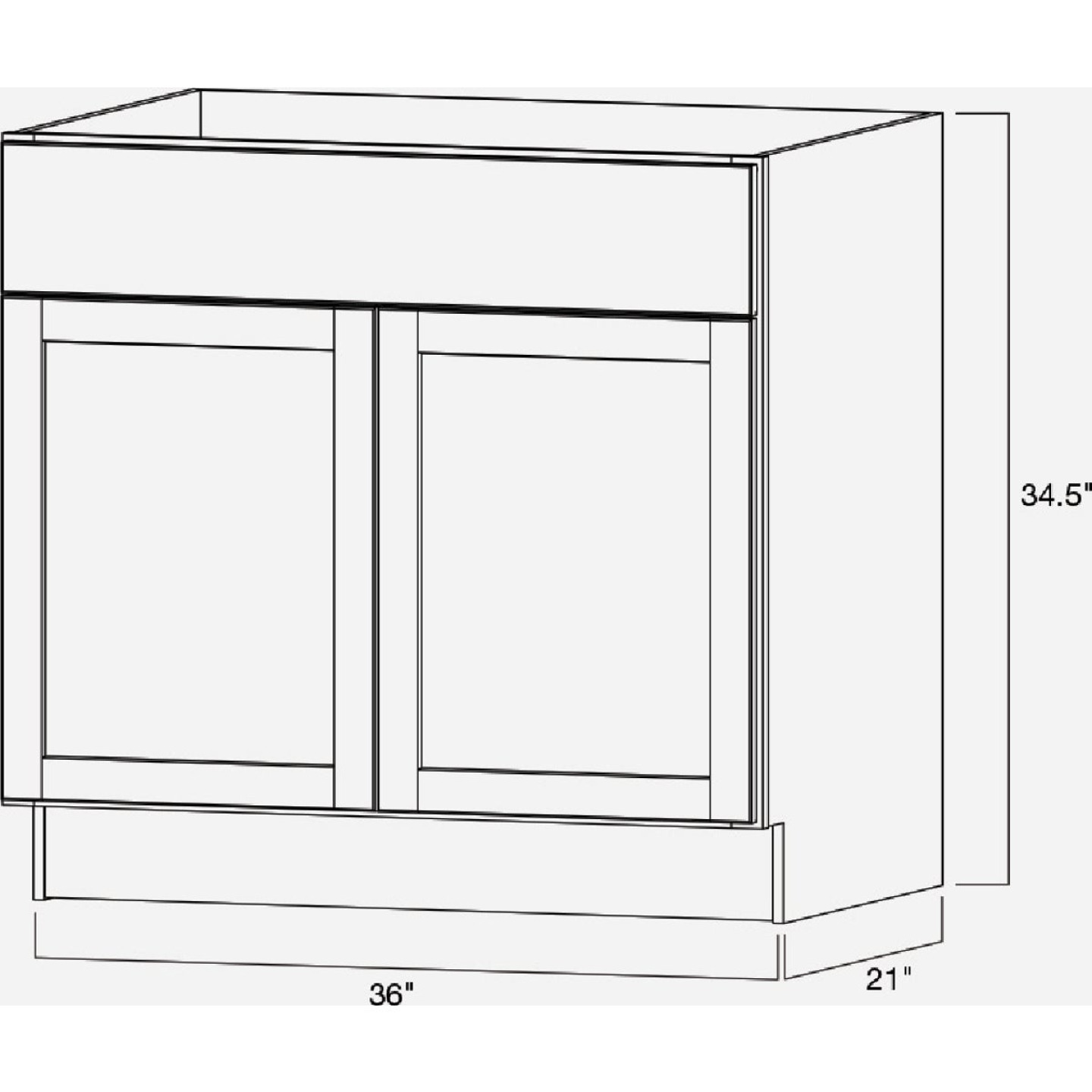 Continental Cabinets Andover Shaker 36 In. W x 34-1/2 In. H x 21 In. D White Vanity Base, 2 Door Image 5