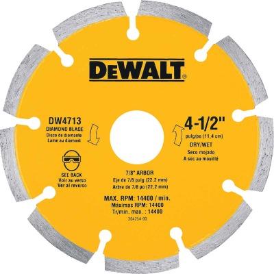 DeWalt Extended Performance  4-1/2 In. Turbo Segmented Rim Dry/Wet Cut Diamond Blade (Bulk)