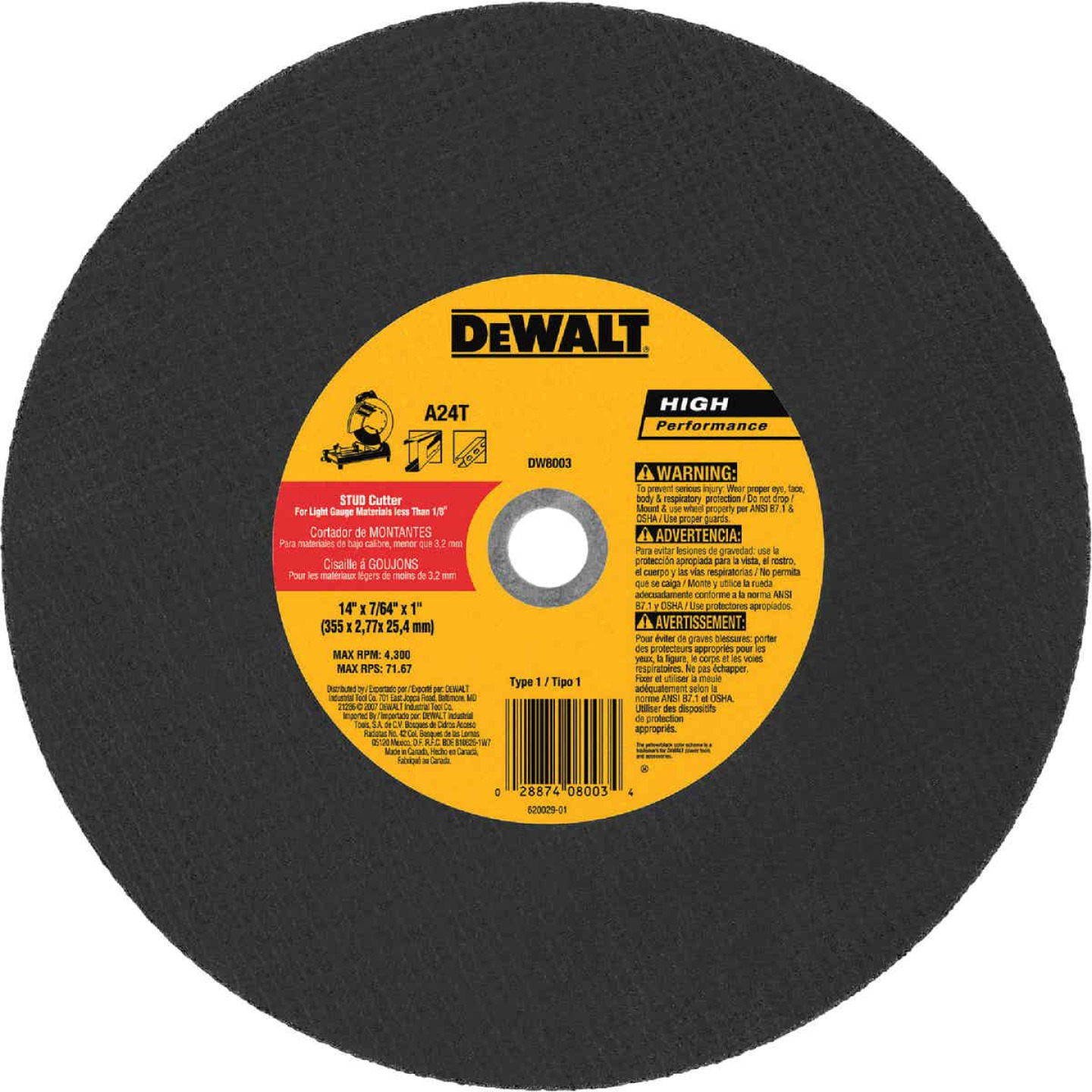 DeWalt HP Type 1 14 In. x 7/64 In. x 1 In. Metal Studs Cut-Off Wheel Image 1
