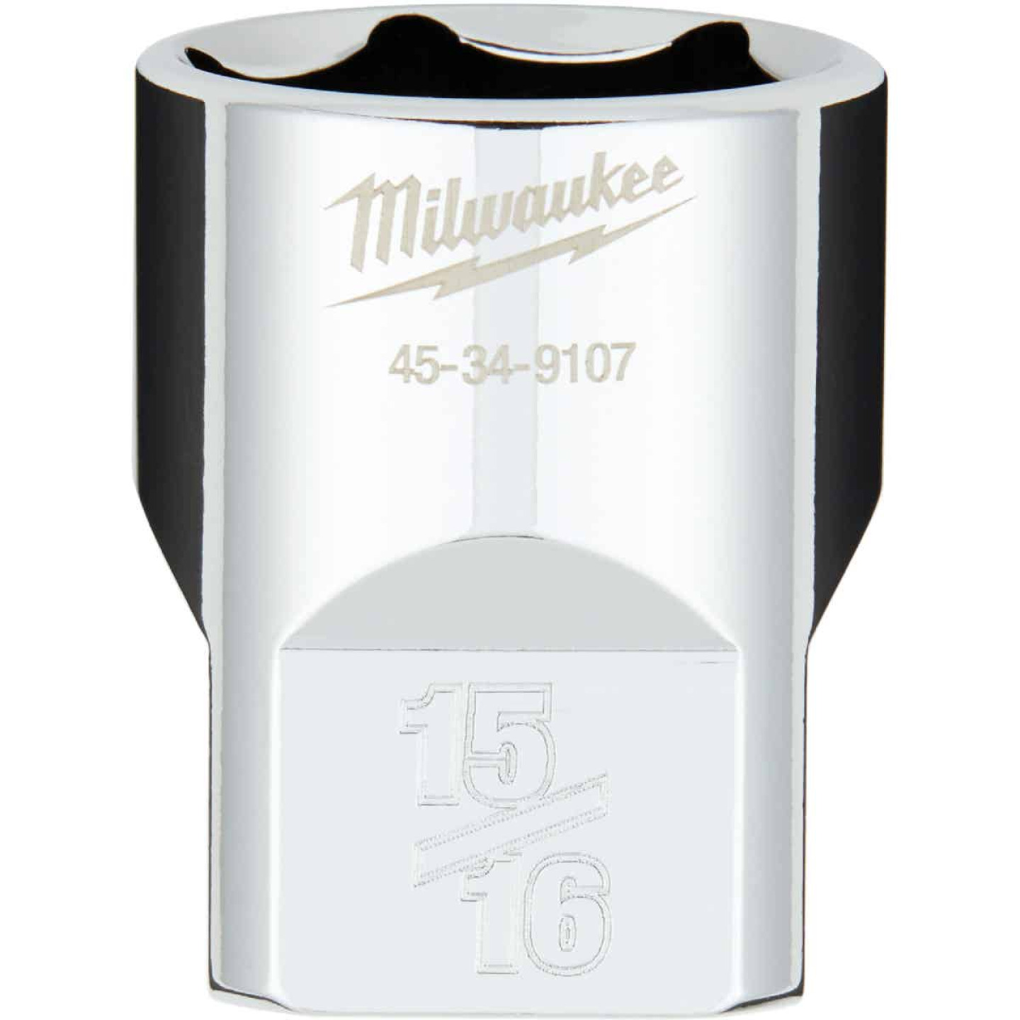 Milwaukee 1/2 In. Drive 15/16 In. 6-Point Shallow Standard Socket with FOUR FLAT Sides Image 1