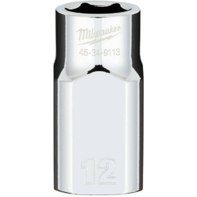 Milwaukee 1/2 In. Drive 12 mm 6-Point Shallow Metric Socket with FOUR FLAT Sides