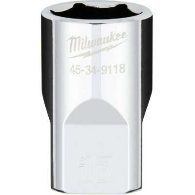 Milwaukee 1/2 In. Drive 17 mm 6-Point Shallow Metric Socket with FOUR FLAT Sides