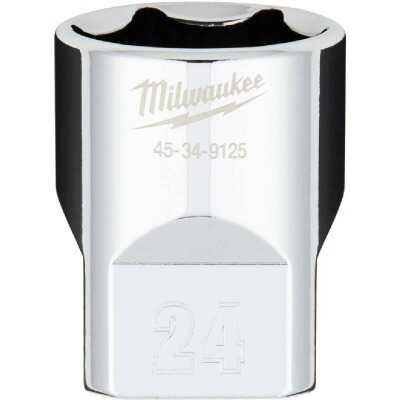 Milwaukee 1/2 In. Drive 24 mm 6-Point Shallow Metric Socket with FOUR FLAT Sides
