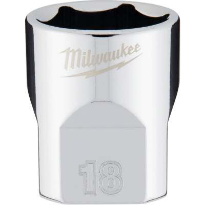 Milwaukee 3/8 In. Drive 18 mm 6-Point Shallow Metric Socket with FOUR FLAT Sides