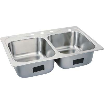 Sterling Southhaven Double Bowl 33 In. x 22 In. x 8 In. Deep Stainless Steel Kitchen Sink