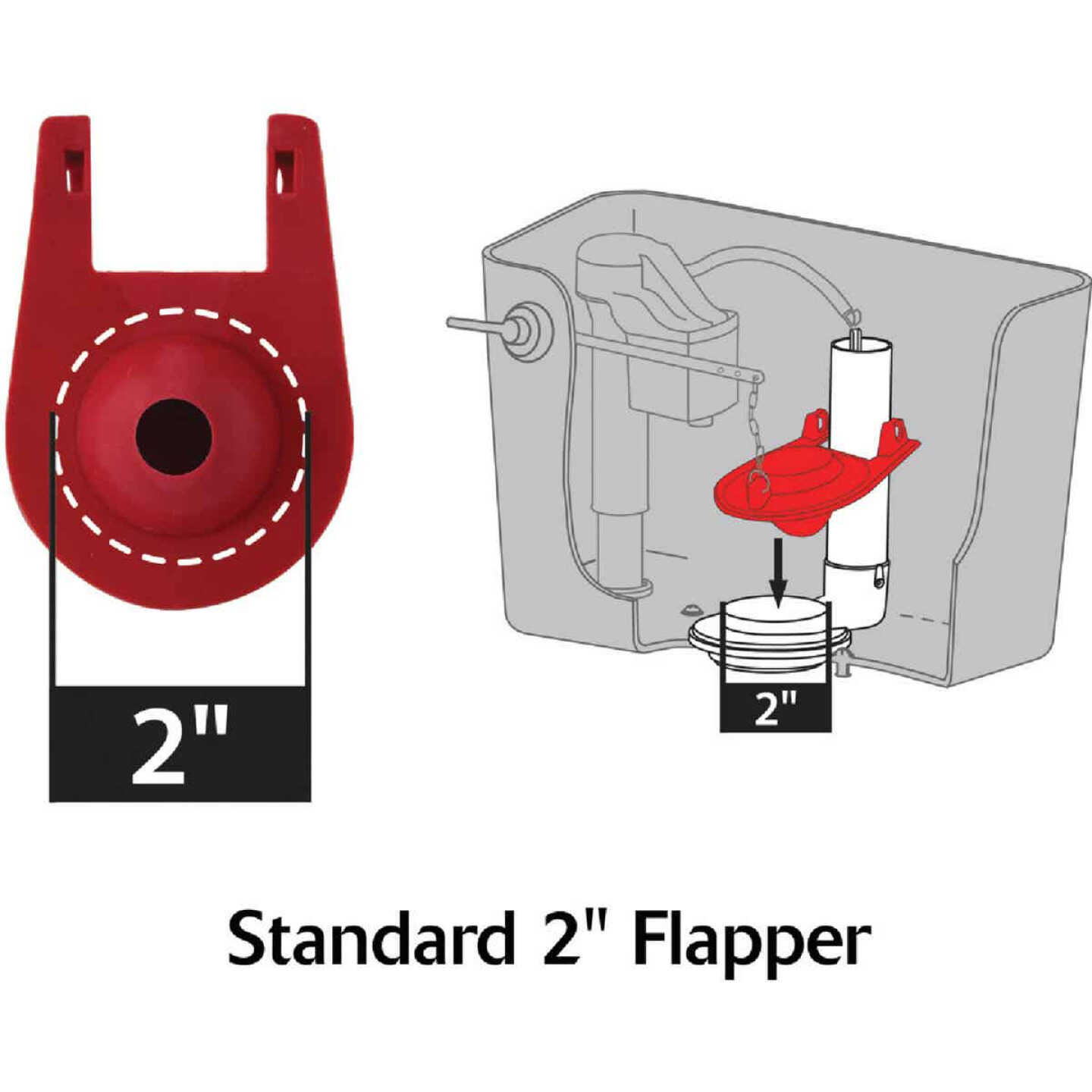 Korky Plus 2 In. Rubber Adjustable Flapper with Float and Chain Image 3