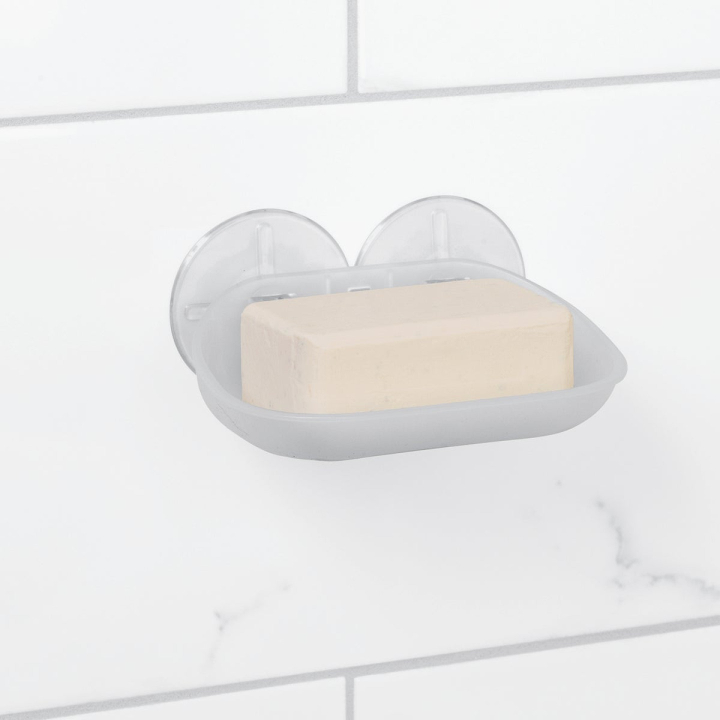 Zenna Home Frosted Finish Suction Soap Dish Image 1