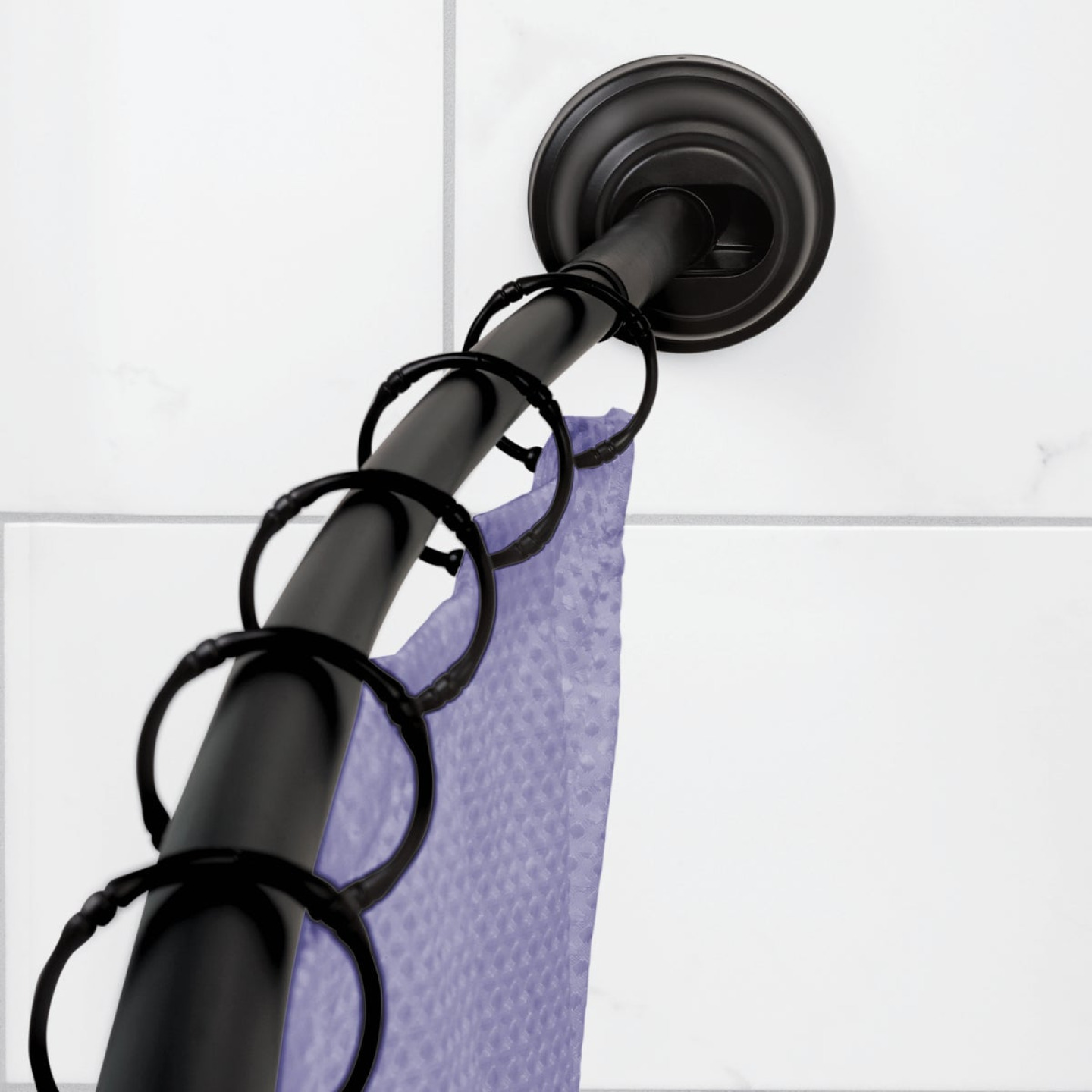 Zenna Home NeverRust 50 In. to 72 In. Adjustable Fixed or Tension Curved Shower Rod in Matte Black Image 2