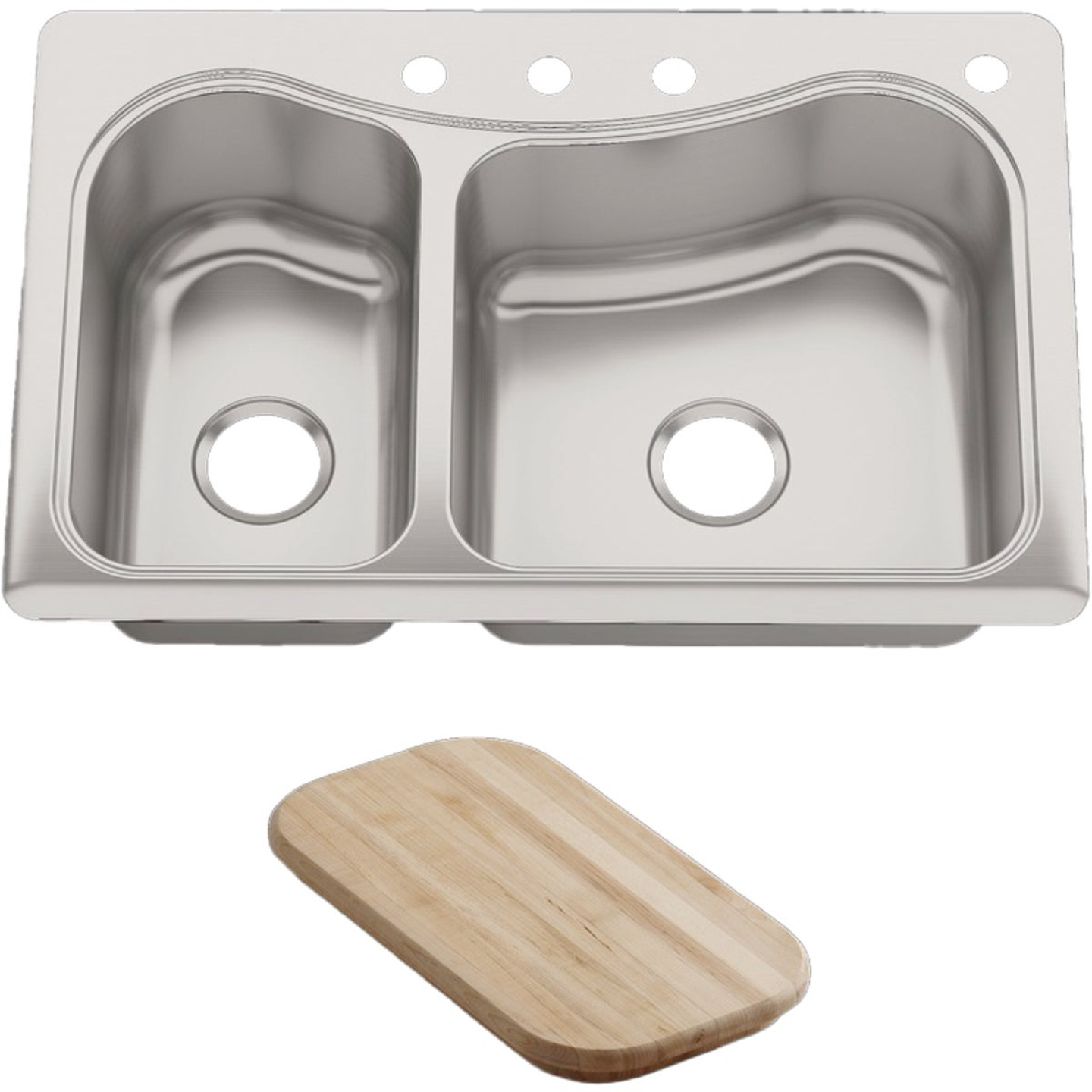 Kohler Staccato Double Bowl 33 In. x 22 In. x 8 In. Deep Stainless Steel Kitchen Sink w/Cutting Board Image 1