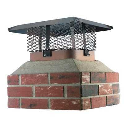 Shelter Adjustable Black Galvanized Steel Single Flue Chimney Cap for Large Flue