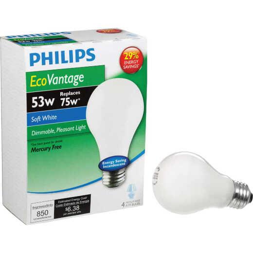 Philips EcoVantage 75W Equivalent Soft White Medium Base A19 Halogen Light Bulb (4-Pack)