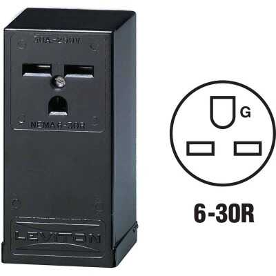 Leviton 30A Surface Mount Black 6-30R Power Outlet