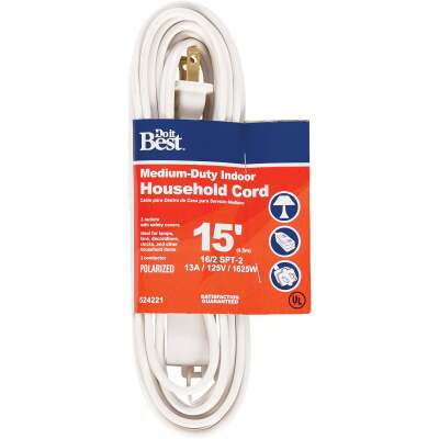 Do it Best 15 Ft. 16/2 White Cube Tap Extension Cord