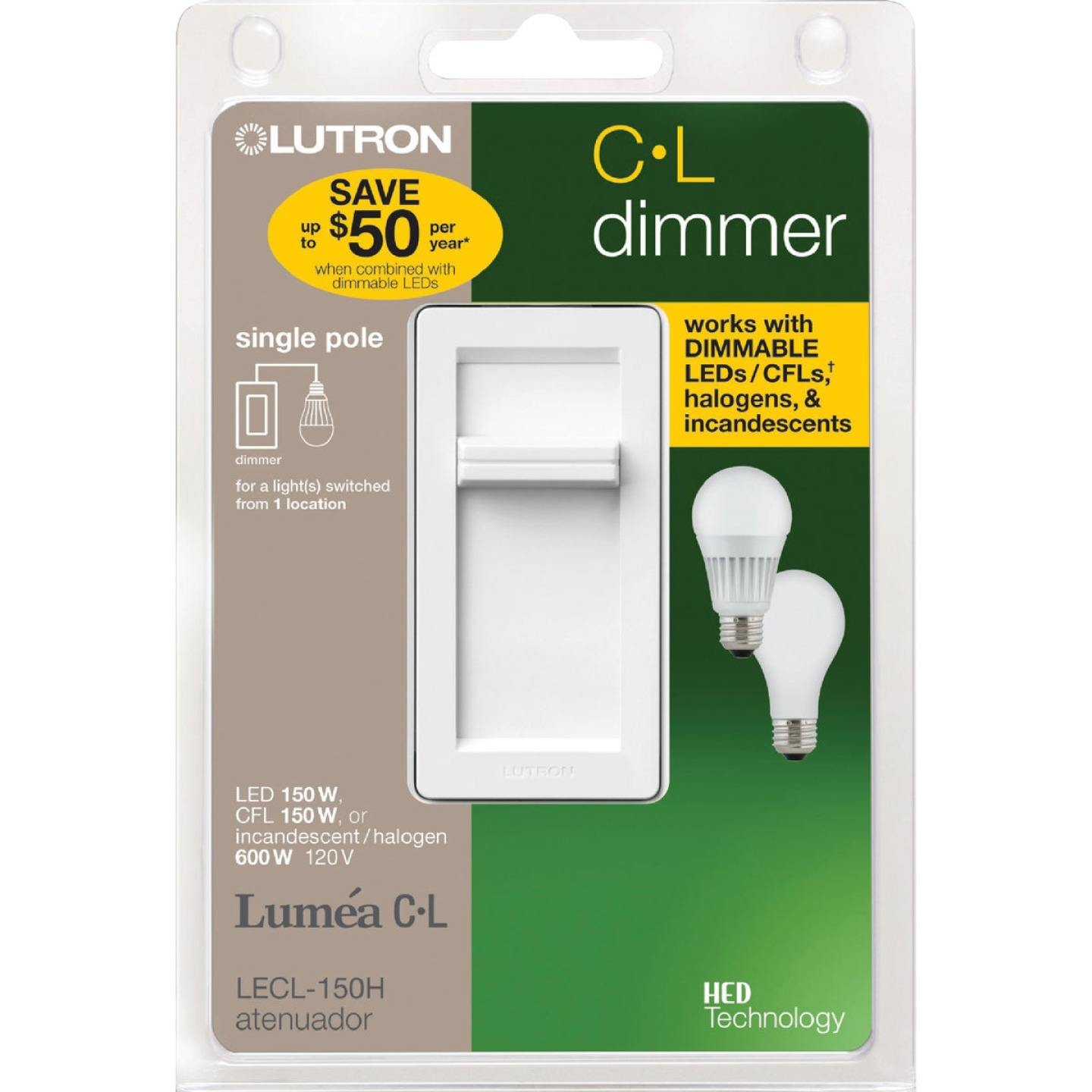Lutron Lumea CL White 120 VAC Wireless Dimmer Image 1
