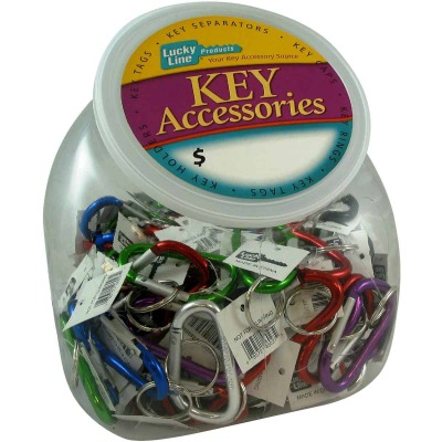 Lucky Line Assorted Colors 2-3/8 In. Small C-Clip Key Ring Countertop Display