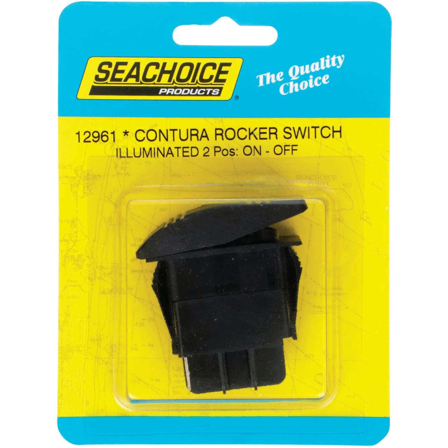 Seachoice Contura 20A 12V Black Illuminated Rocker Switch, On/Off Image 1