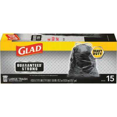 Glad Guaranteed Strong 30 Gal. Large Black Trash Bag (15-Count)
