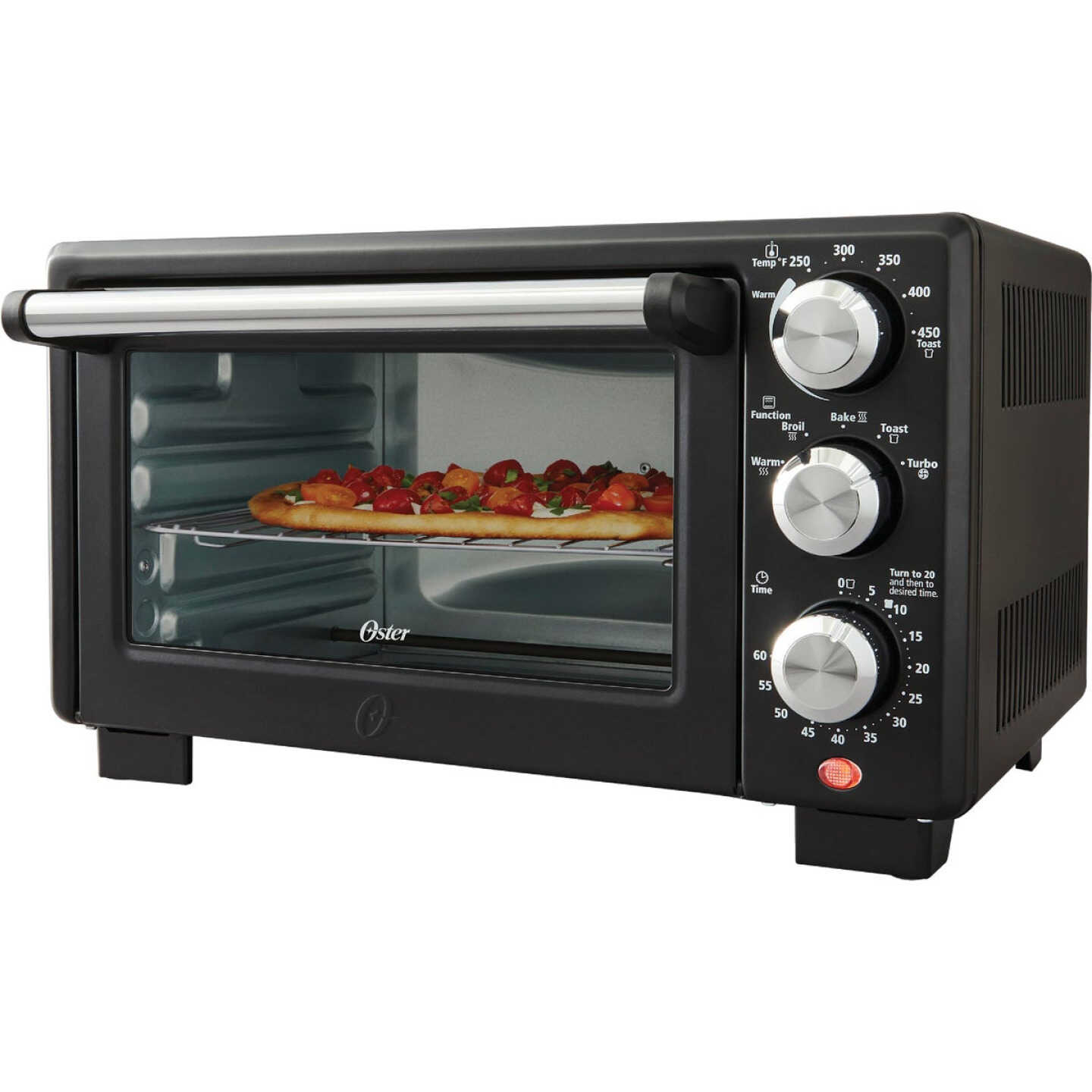Oster 4-Slice Matte Black Compact Toaster Oven Image 1