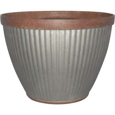 Southern Patio Westlake 10 In. Resin Rustic Galvanized Round Pleated Planter