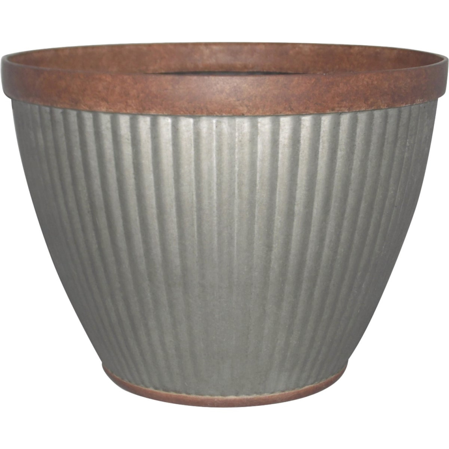 Southern Patio Westlake 20.5 In. Resin Rustic Galvanized Round Pleated Planter Image 1