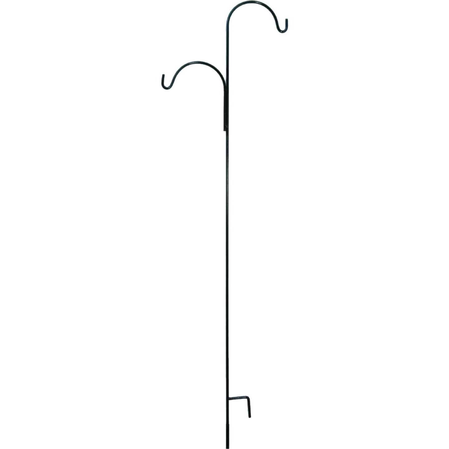 American Gardenworks 91 In. Black Steel Offset Double Hanger Shepherd Hook Image 1
