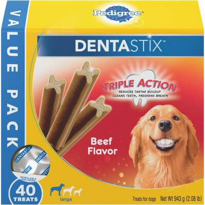 Pedigree Dentastix Large Dog Beef Flavor Dental Dog Treat (40-Pack)