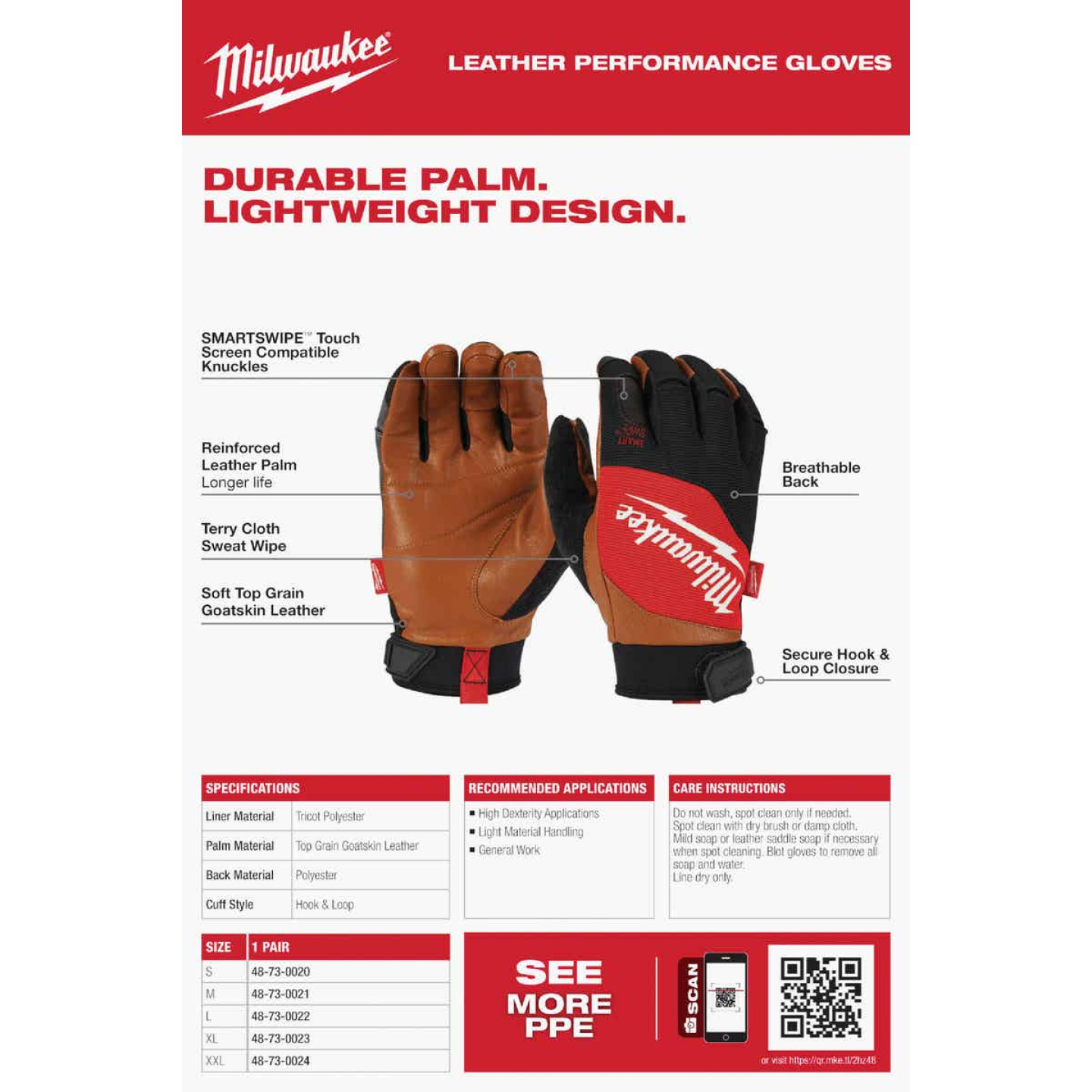 Milwaukee Men's Large Leather Performance Work Glove Image 3