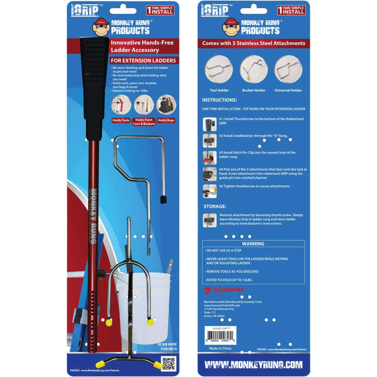 Monkey Rung Monkey Grip Hands-Free Ladder Accessory for Extension Ladder Image 1