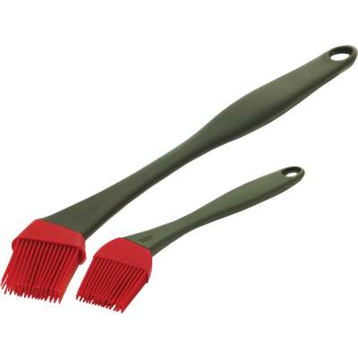GrillPro Plastic Handle Silicone Bristles Basting Brush (2-Pack)