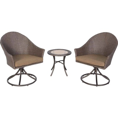 St Augustine 3-Piece Wicker Chat Set with Cushions