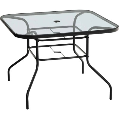 Outdoor Expressions Windsor 40 In. Rounded Edge Square Black & Gray Steel Table