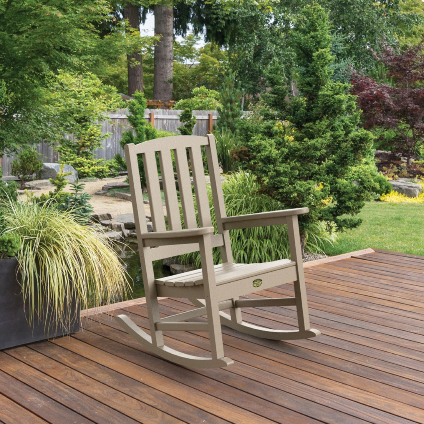 Pawley's Island Silver Line Tan Poly Porch Rocking Chair Image 2