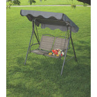 Outdoor Expressions 2-Person 61.41 In. W. x 64.96 In. H. x 47.24 In. D. Brown Patio Swing Image 2