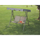 Outdoor Expressions 2-Person 61.41 In. W. x 64.96 In. H. x 47.24 In. D. Brown Patio Swing Image 3