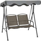 Outdoor Expressions 2-Person 61.41 In. W. x 64.96 In. H. x 47.24 In. D. Brown Patio Swing Image 1