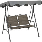 Outdoor Expressions 2-Person 61.41 In. W. x 64.96 In. H. x 47.24 In. D. Brown Patio Swing Image 6