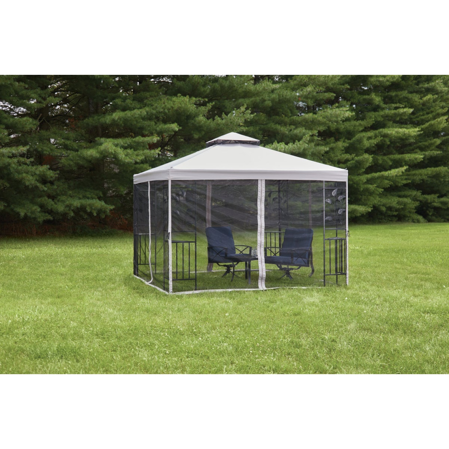 Outdoor Expressions 12 Ft. x 12 Ft. Gray & Black Steel Gazebo with Sides Image 2