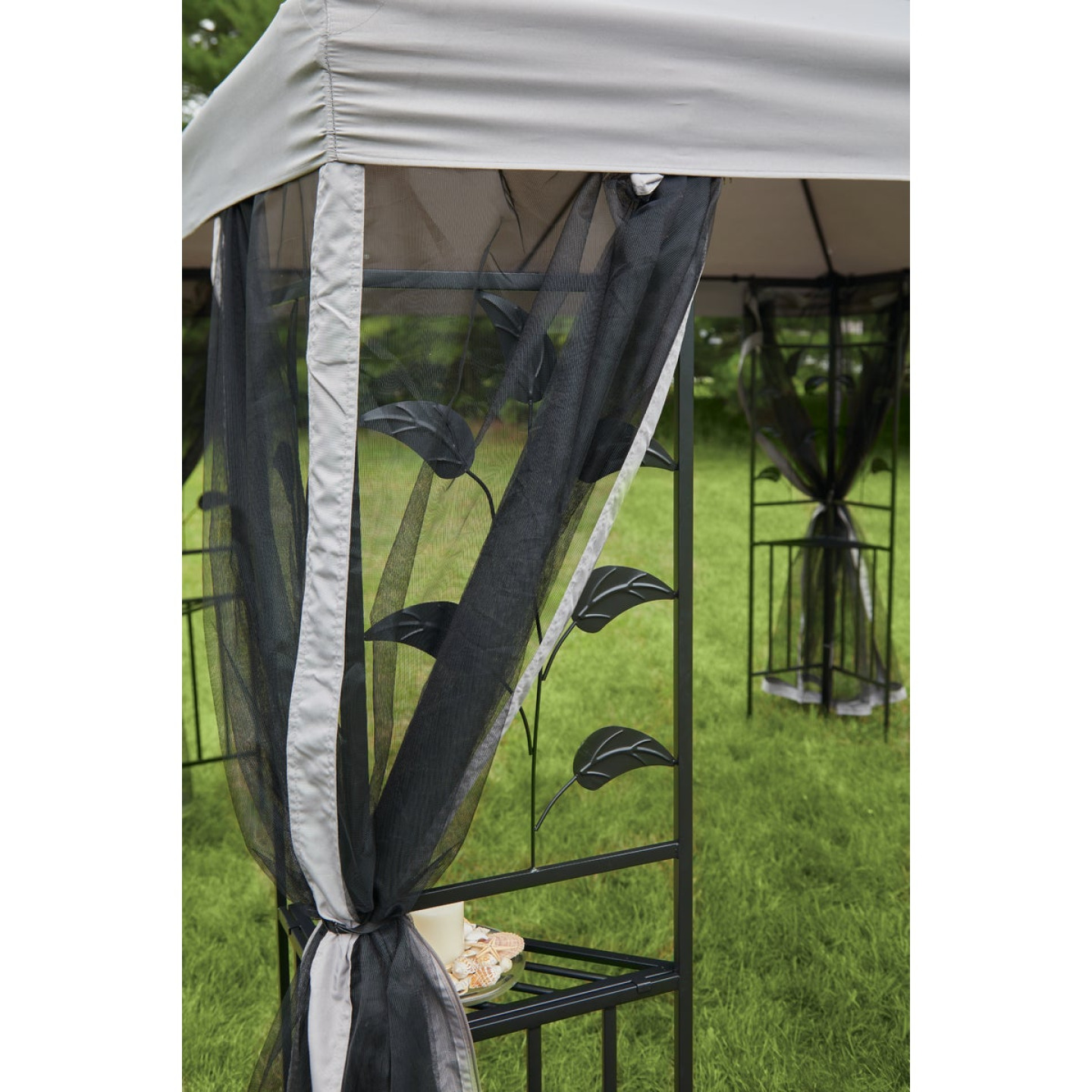 Outdoor Expressions 12 Ft. x 12 Ft. Gray & Black Steel Gazebo with Sides Image 7