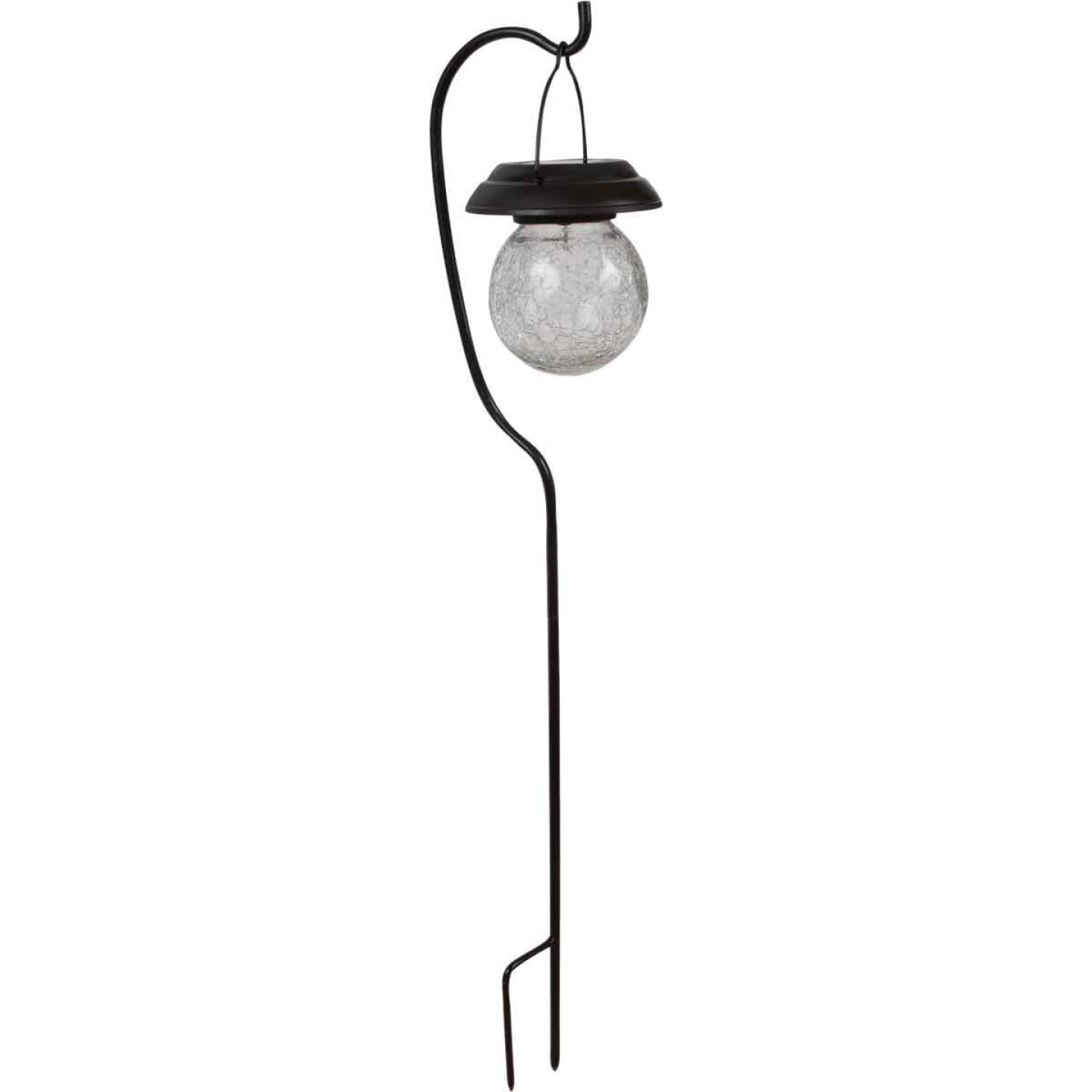 Fusion Black Stainless Steel Shepherd's Hook Hanging Crackle Ball Solar Path Light Image 2