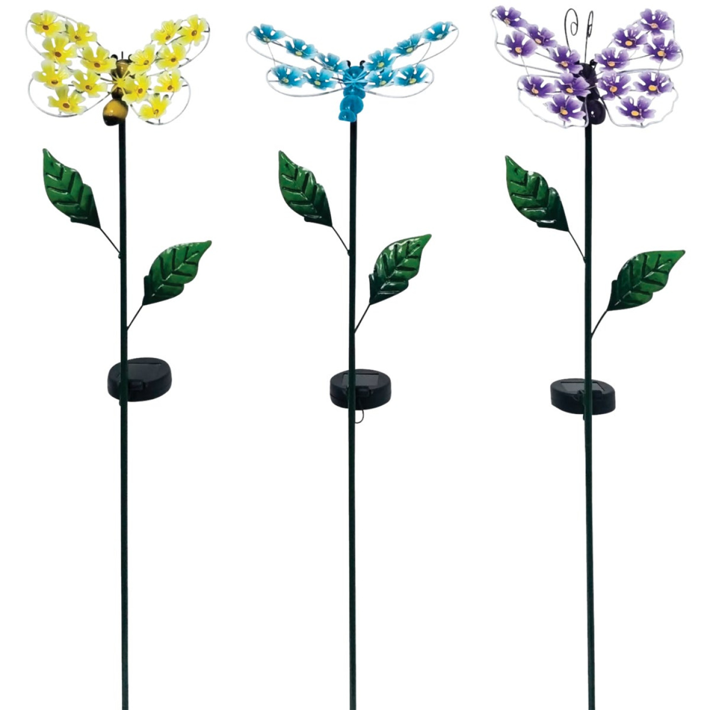 Alpine Metal 33 In. H. Insect with Hydrangea Wings Solar Stake Light Image 1