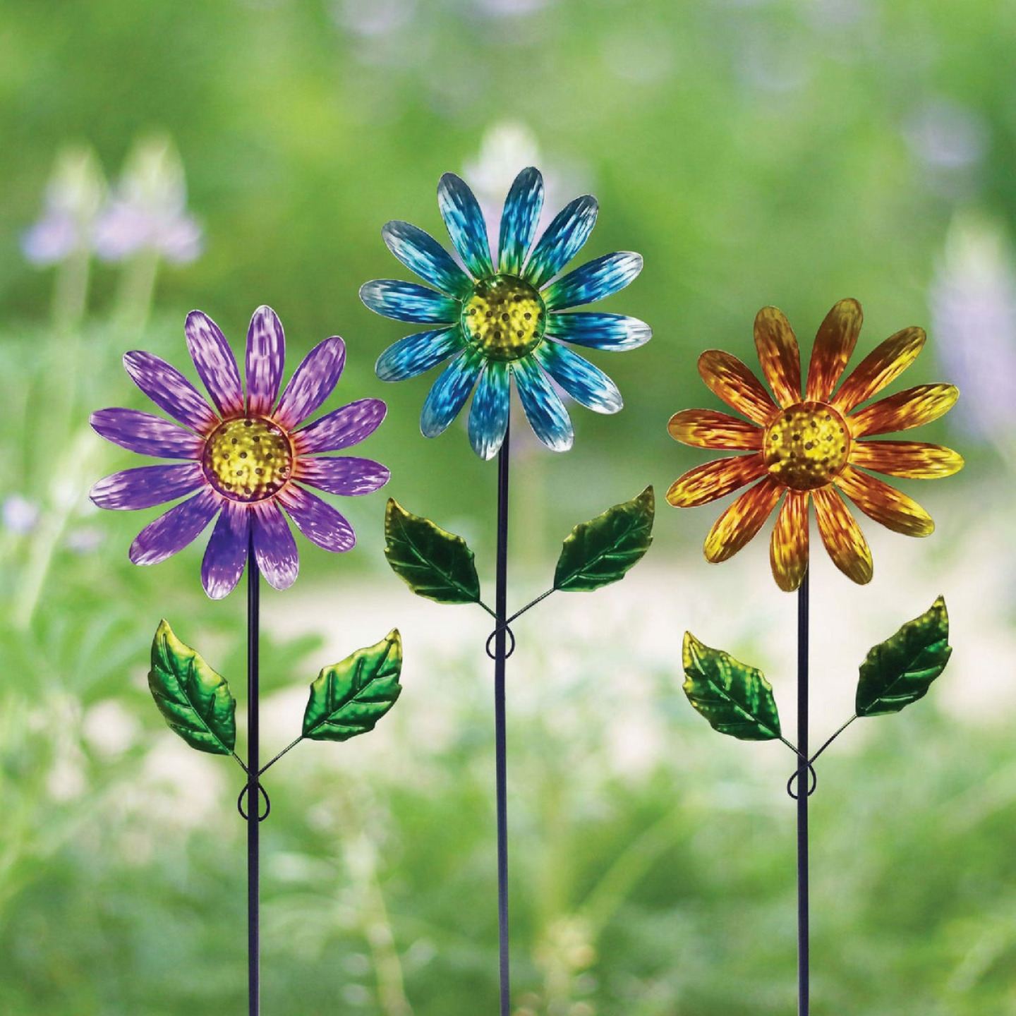 Alpine 32 In. Metal Daisy Garden Stake Lawn Ornament Image 2