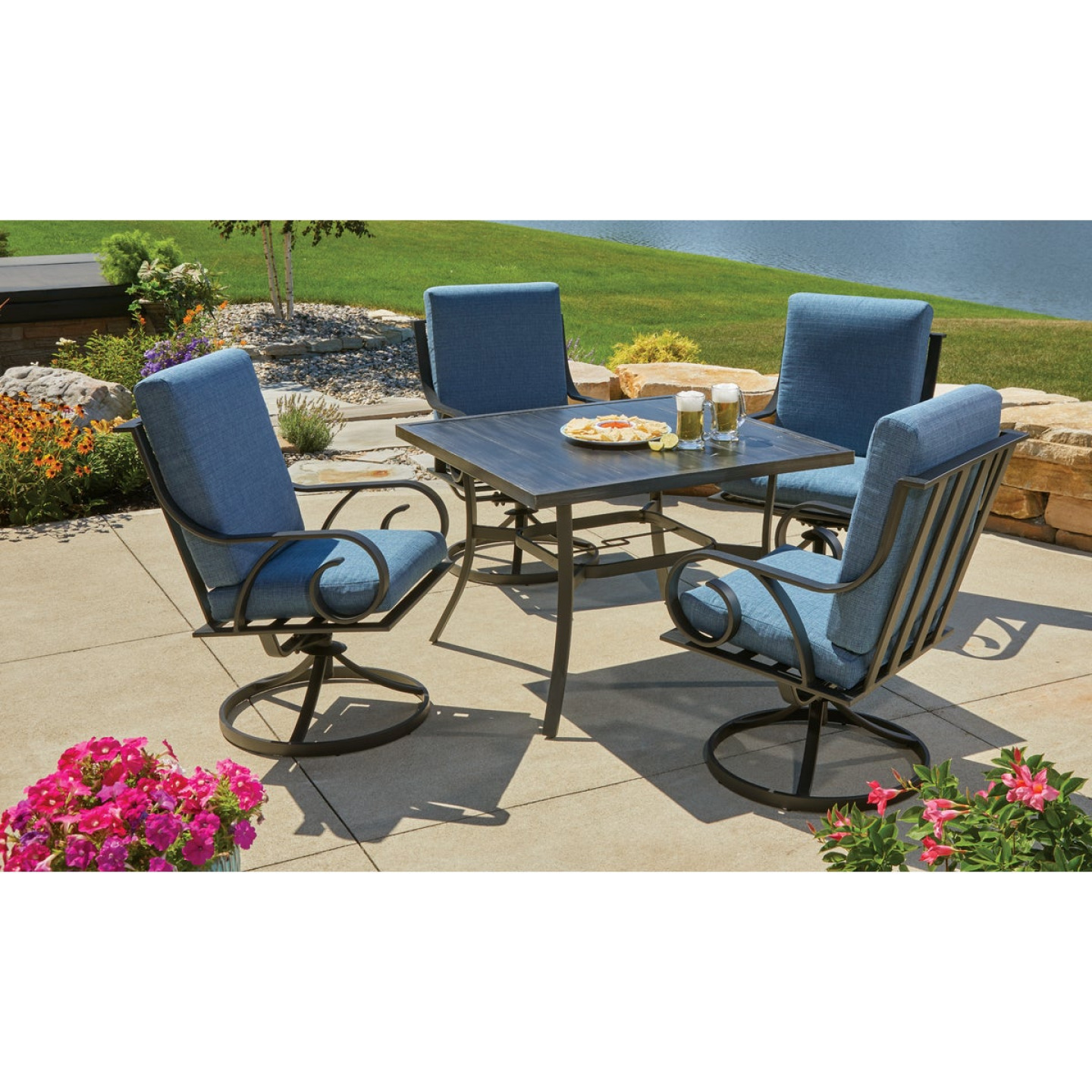 Pacific Casual Capri 5-Piece Fully Cushioned Swivel Dining Set Image 3